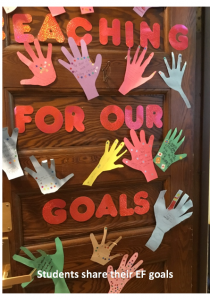 "Paper hands and letters in all colors that say ""Teaching for Our Goals"""