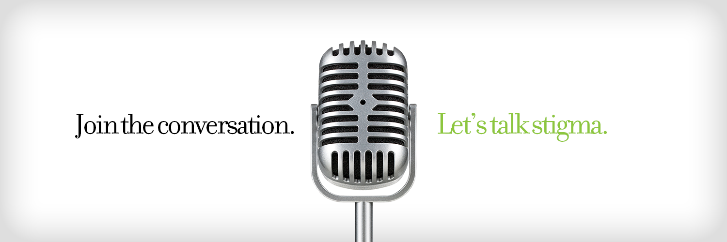 "The phrases ""Join the Conversation"" and ""Let's Talk Stigma"" on either side of a microphone."